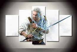 5 Piece Unframed Canvas Printed the witcher 3 wild hunt Painting Canvas Print room decor print poster picture canvas painting Free shipping