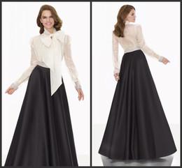Wholesale Elegant Evening Dresses Black Stain Floor Length T shirt White Long Sleeves Cheap Formal Dress Custom Made Best