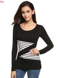 Ladies Clothes Women Casual T-shirt Long Sleeve Stretch Bodycon Tees Patchwork Striped O Neck Slim Leisure Basic Top T-shirt Spring YC000898
