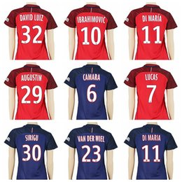 Wholesale 2016 Women Soccer Jersey PSG Footbal Shirt Custom IBRAHIMOVIC Uniforms Woman Your Name Number BECKHAM LAVEZZI DI MARIA