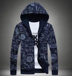 Casual Hoodies Men Sweatshirt men's Sweatshirts fashion print Graffiti zipper Cotton Slim sport jackets M-5XL