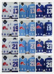 Wholesale Cord NHL Quebec Nordiques Joe Sakic Forsberg Stastny Sundin BROUSSEAU White Drak Light Blue Hockey Jersey Stitched Mix Order