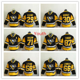 Wholesale 2017 Kids Boys Pittsburgh Penguins Youth Home Hockey Jersey Sidney Crosby Evgeni Malkin Mario Lemieux Kris Letang Fleury Murray