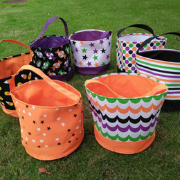 Wholesale 2016 New Coming Candy Blanks Microfiber Halloween Bucket Treat or Trick Tote Halloween Gift Collection Bag DOM106349