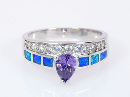 Wholesale & Retail Fashion Fine Blue Fire Opal Ring with Purple Cubic Zirconia Stone 925 Silver Plated Jewelry EJT15230014