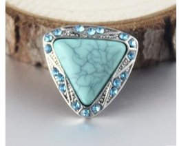 Turquoise triangle 18mm 20mm zinc alloy Holand noosa chunks snap button charm giner button with blue rhinestone DIY personality Noosa button