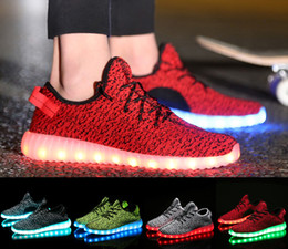 Wholesale 2016The new LED Colorful lights fly line knitted shoes male USB charging emitting fluorescent couple shoes casual shoes