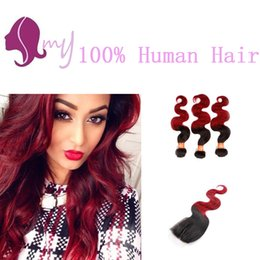 Ombre Colored Two Tone Weave 1B red Body Weave Hair Extensions Wave 3 Bundles with Free Part Lace Closure Unprocessed Virgin Human Hair