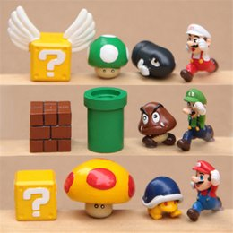 Wholesale 12 Pc Super Mario Brothers Figures Set yoshi dinosaur furnishing articles resin hand to do the micro landscape garden Toys