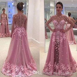 Major Beading 3D-Floral Evening Dresses Pink Jewel Illusion Neckline Long Sleeeves Detachable Court Train ZIpper Buttons Prom Gowns
