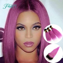 """10-30""""Inch Length Hair Indian Hair With Closure Straight Human Hair 1B Pink Two Tone 4Pcs Lot Omber Hair Extensions"""