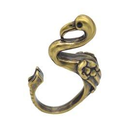Wholesale 1pcs Fine Jewelry Vintage Silver Boho Chic Mid Finger Punk Flamingo Ring Brass Knuckle Animal Wrap Bird Wedding Rings For Men Women