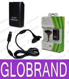 Promotion charge de contrôleur sans fil xbox 4800mAh batterie rechargeable avec câble de chargement USB pour Microsoft Xbox 360 contrôleur sans fil noir Livraison gratuite GLO678