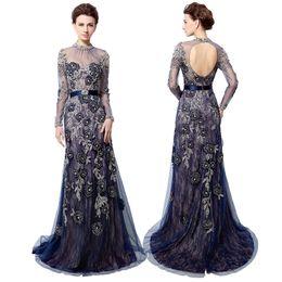 Wholesale Navy Blue Long Sleeve Evening Dress Sheer High Neck Crystal Embroidery Backless Long Prom Dress Dubai Rode De Soiree LX014