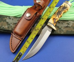 OEM Henrry 153 Original package UNCLE HENRY 8cr13mov Sanding GOLDEN SPIKE HUNTING KNIFE with millstone and leather sheath