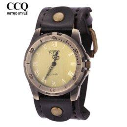 Wholesale Roman Number Punk Style Cowhide Leather Watch Vine Fashion Men s Wrist Watches Montre Clocks Cheap watch repair kit tools