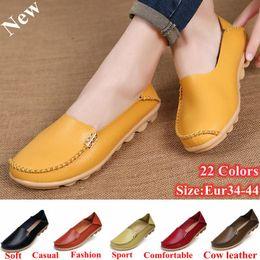 (22 Colors,EUR:34-44) Hot Sale Women Shoes Casual Genuine Leather Candy Color Doug Shoes Soft Comfortable Slip on Shoes
