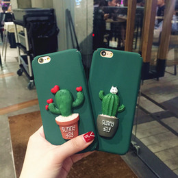 Fashion Cartoon Cell Phone Cases Green Cactus Phone Cover with Soft PC Dirt-Resistant Phone Case for Iphone 7p 6S