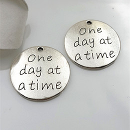 Wholesale Antique Silver Plated One Day At A Time Alloy Message Pendant Charms Metal Dog Tag Charms AAC1210