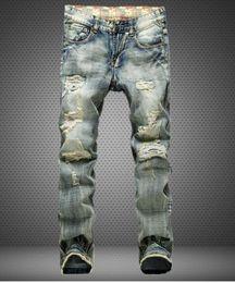 2016 TOP sale Mens Hiphop Jeans new sales Hole patch Jeans famous brand Embroidery beauty men Straight Cotton Denim Jeans trouser Large Size