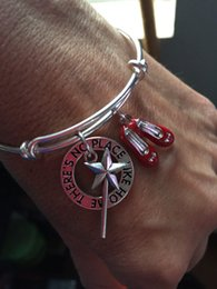 Wholesale 12pcs The wizard of Oz bracelet with wand or red shoes and stamped quot There s no place like home quot charms