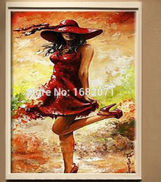 Wholesale Top Skills Artist Handpainted Wearing A Red Wedding Dress Oil Painting High Quality On Canvas For Room Decoration Unframed