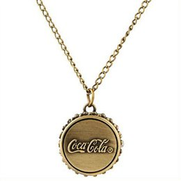 Wholesale Fashion Coca Cola bottle cap Pocket Watch brone Cola pendants necklace watches for men women fashion jewelry