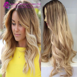Ombre Blonde Color 100% Brazilian human hair full lace wigs & lace front wigs bleached knots ombre #8 22 human hair wigs
