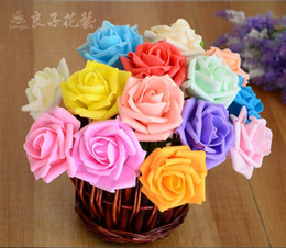 Free Shipping Wholesale 100 pcs Artificial Flowers Artificial Rose 6cm Foam Flowers For Bridal Bouquets Wedding Decor