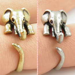 Wholesale-Fashion vintage Antique Bronze Silver Animal Adjustable Ring Elephant Statement Wrap ladies animal rings 3d animal ring