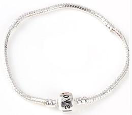 Fine 925 sterling silver charm love bracelet snake chain for women DIY pulseira jewelry, with logo love pandora bracelets 17cm to 22cm