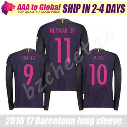 Wholesale Neymar long sleeve Soccer jersey purple home away INIESTA SUAREZ MESSI long sleeve Jersey thai quality Man football long shirt