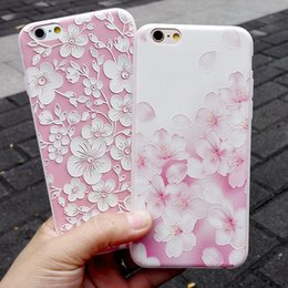 Fashion Imported Pink Peach Flower Pattern Embossed Sakura Printed Cell Phone Case Shockproof TPU Cell Phone Case for Iphone6 Iphone6plus