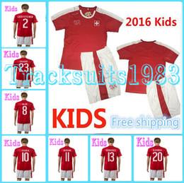 Wholesale Switzerland Kids Jerseys child teens Football Shirt Shaqiri INLER DRMIC XHAKA MEHMEDI European Cup Home Season rugby