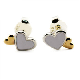 Luminous Heart Mother-of-Pearl & 14K Golden 2016 Summer 100% 925 Sterling Silver earring Fit Pandora Charms earring Authentic Fine Jewelry
