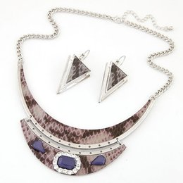 Bijoux Femme Silver Gold Plated Jewelry Set Moon Pendant Statement Jewelry Sets Board Gem Stone Necklace Earrings Set For Women