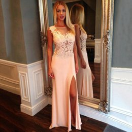 Wholesale Semi Sheer Formal Dress - Light Pink Sheath Long Prom Gowns Women Semi Formal Evening Dresses Sheer Lace Top Sleeveless 2016 Cheap Pageant Wear Custom Made