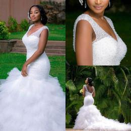 2017 White Sexy V Neck Backless Corset Beaded Court Train Mermaid Wedding Dresses Sleeveless Ruched Ruffle Bridal Gowns Vestidos BA2989