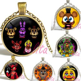 Wholesale Five Nights at Freddy s Necklace FREDDY FAZBEAR Scrabble Tile glass cabochon Pendant necklace children gift