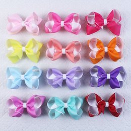 Wholesale 25pcs quot Girl Baby CHILDREN double layers headbands Hair accessories solid Bows clips bobbles elastic E Y