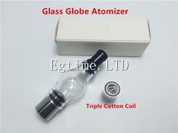 DHL Glass Globe Atomizer with Triple Cotton Coil pyrex glass tank for EVOD battery 510 thread battery ecigs Quartz Ceramic Coils Vaporizer