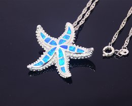 Wholesale & Retail Fashion Jewelry Fine Blue Big Starfish Fire Opal Stone Sliver Pendants Necklace For Women PJ17082704
