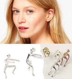 Europe woman Exaggerated personality Climbing people ear bones clip without pierced ear clip earring Free Shipping
