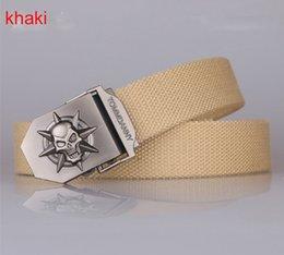 Wholesale 100pcs skull metal bucket luxury designer khaki amy green stripes leather Package edge belt for men casual waist belts