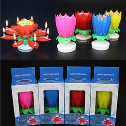 Wholesale Vente en gros Anniversaire bougie musique bougies décoration de fête fleur de lotus double couche de rotation de son gâteau topper rouge bleu jaune rose