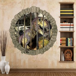 3D Jurassic World Park Dinosaurs Wall Stickers for Children's Perspective Stickers Backdrop Animals Decals Mural Art Poster