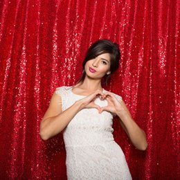 Wholesale Red ftx8ft new fashion Sequin Wedding backdrop curtain with sequin Cheap Backdrops photography