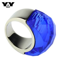 2016 Newest fashion Exaggerated Big crystal Rings in blue color hand made polishing luxury 100% 316L Stainless steel ring for women