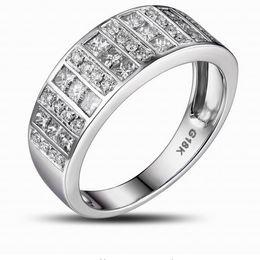Wholesale Real 14K White Gold Pave 1.05ct Diamond Wedding Band Mens Ring Prong Setting Free Shipping