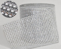 Wholesale 10yard roll quot Rows manmade Diamond Mesh yards wrap Rhinestone Ribbon Crystal trim Wrap sparkle bling ribbon Wedding Decoration WT029